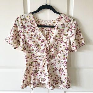WAYF Sabrina Knot Flutter Sleeve Top/Size XS